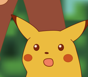 The image shows a cartoon image of Pikachu (a small yellow Pokemon with long pointy ears) with its mouth open and eyes wide in surprise