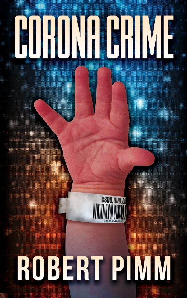 Book cover for Corona Crime. A baby's hand with a hospital tag reaches out from a background of glittering blue and orange squares.